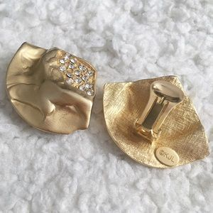 Rare Vintage KJL Gold Clip-on Earrings